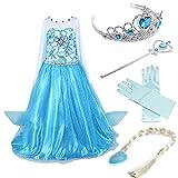 Timesun® Mädchen Prinzessin Schneeflocke Süßer Ausschnitt Kleid Kostüme mit Diadem,...