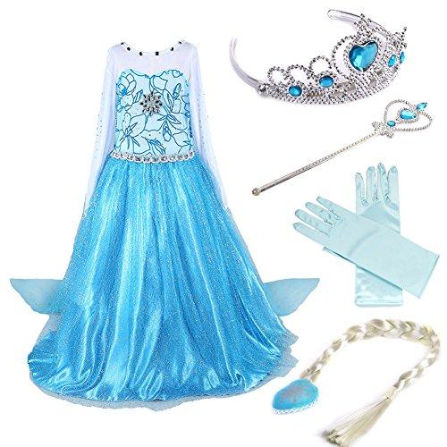 Timesun® Mädchen Prinzessin Schneeflocke Süßer Ausschnitt Kleid Kostüme mit Diadem, Handschuhen, Zauberstab und Zopf, Gr. 98/140 (100 (Körpergröße 100cm), 02 Kleid mit 4 Zubehör)