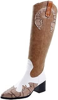 MisaKinsa Women Western Boots Block Heels Knee High Boots Zipper