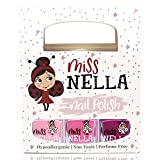 Miss Nella SÜSSES KLEINES PACK: Nagellackpack mit 3 Abziehbare, geruchsneutrale, wasserbasierte und sichere für Kinder- Cheeky Bunny, Pink A Boo & Little Poppet