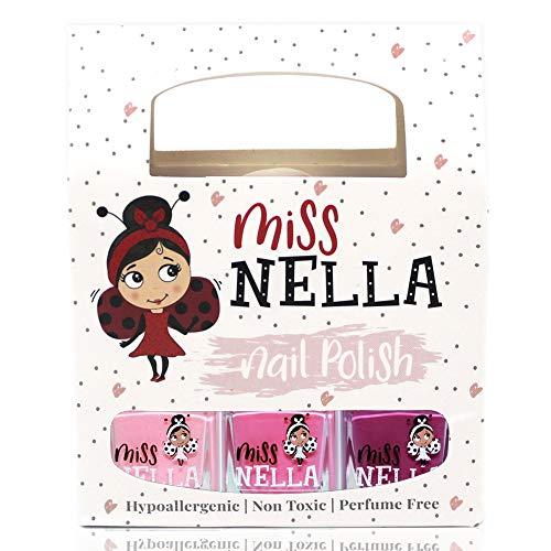 Miss Nella PETIT SET DOUX: SET de 3 vernis à ongles peel off, sans odeur, sans eau et sauf pour les enfant- Cheeky Bunny, Pink A Boo & Little Poppet