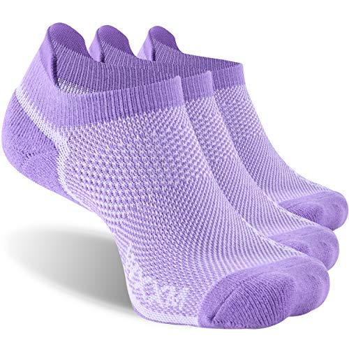 Womens Running Low Cut Socks,WXXM Mens Low Cut Athletic Sports Walking Cushioned Tab Socks Cotton Arch Compression Half Terry Performance Comfort Fit No Show Socks Small 3 Pairs Purple