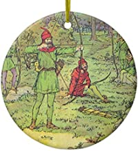 Fhdang Decor Christmas Hanging Ornament Robin Hood in The Forest Ceramic Ornament Circle