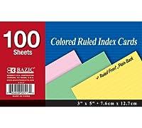 """BAZIC 100Ct。3"""" x 5""""ルールドColoredインデックスカード(ケースof 36)"""