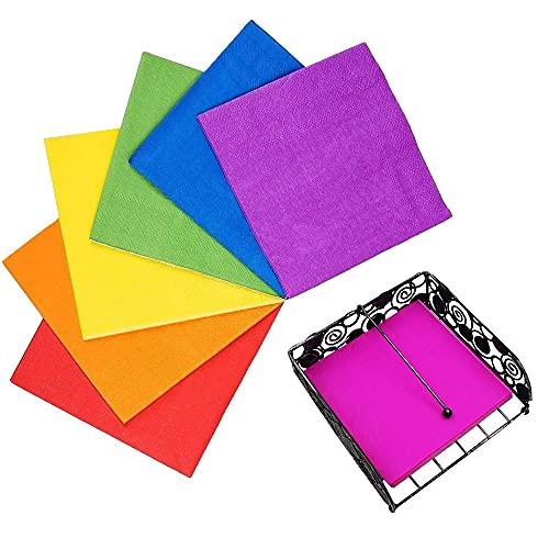 140 Fogli Tovaglioli di Carta,Tovaglioli Colorati,Tovaglioli Ristorante,Tovaglioli Colorati Blu,Tovaglioli Colorati Stoffa,Decorazioni per Feste Tessuto Creativo in Puro Colore (7 Colori)