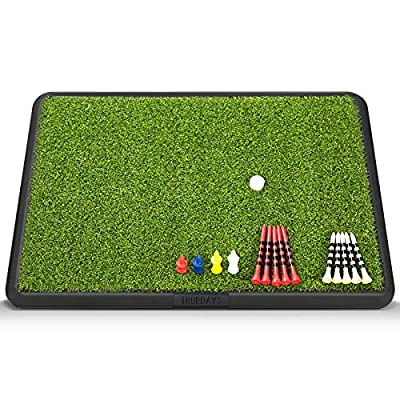 """TRUEDAYS Golf Hitting Mat, 13"""" x 17"""" Heavy Rubber Base Portable Golf Practice Hitting Mat with Tee for Indoor & Outdoor Golf Training"""