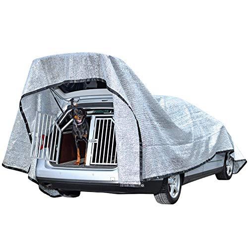 Rosi\'s Barf-Glück XL Schattennetz Hunde 600x400cm – Alunetz Auto 80{88e26e4af31c0c8fc09d602f0c744c4aac59a19d24b25947b5e10c4565cfc849} UV Hitzeschutz Haube Zelt für Auto – Reduziert Hitze im Auto