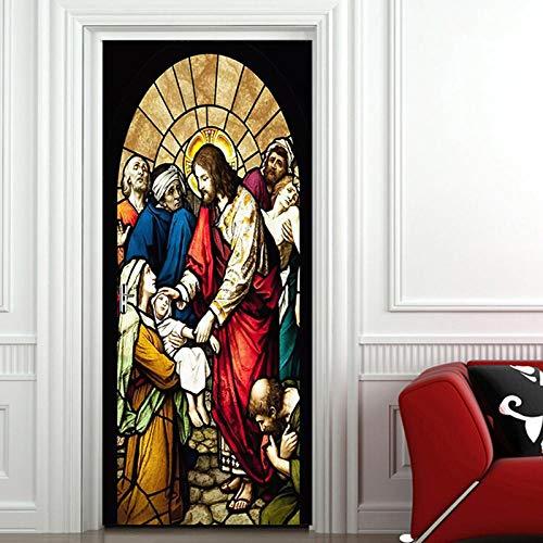 Diy selbstklebende kirchenmalerei tür tapete poster wohnzimmer hotel tür pvc wasserdichte wand 3d wandbild 77x200 cm