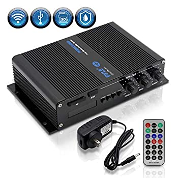 Pyle PFMRA340BB.5 2 Channel 200 Watt Marine Weather Resistant Amplifier Audio Receiver Sound System with Bluetooth Wireless Streaming and MP3/USB/SD