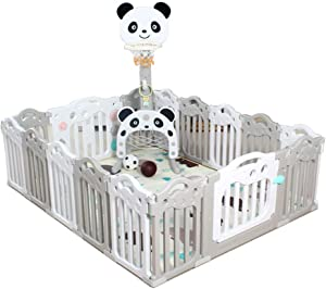 Hong Jie Yuan Child guardrail Playpen Baby Safety Play Yard with Activity Wall Indoors Outdoors and Small Bear Basketball Stand  Multicolor Panel  Baby Playground  Color Gray
