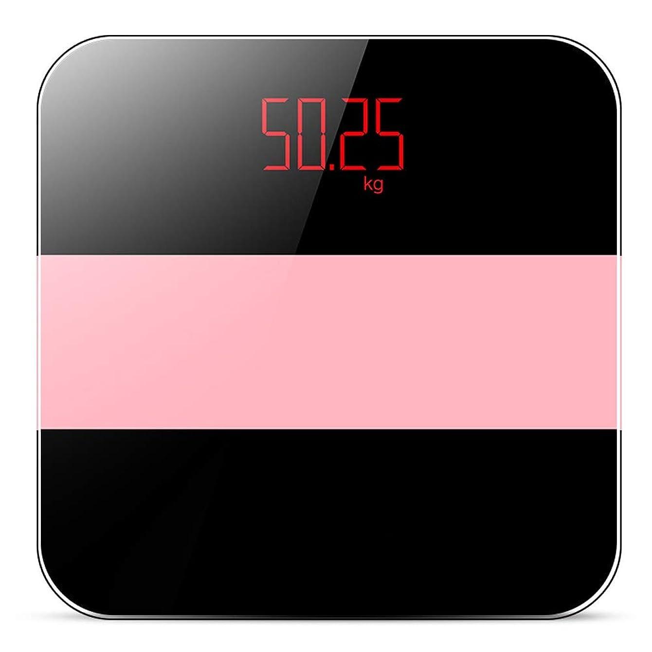 応じるベルベット追い出す再充電可能な電子家の精密体重計、大人の小さいボディスケール - 11x11x0.9inch LJKHFD (Color : Black pink)