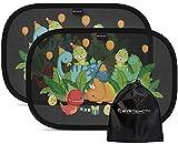 Systemoto Sonnenschutz Auto Baby mit Zertifiziertem UV Schutz (2er Set) - Selbsthaftende Sonnenblenden für Kinder mit süßen Tier Motiven (Dino Party)