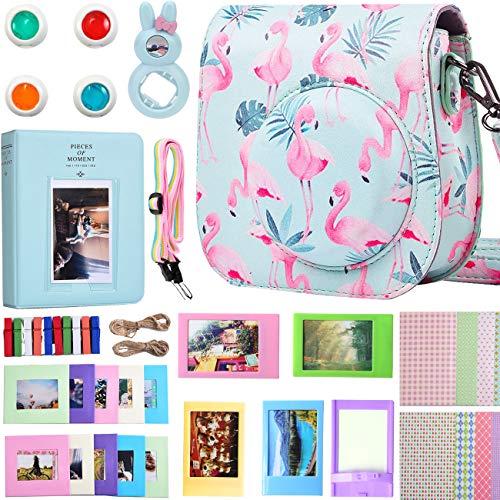 SAIKA Instax Mini 9 Kamera Zubehör Bundle [Tasche+Album+Selfie Objektiv+Filter+Wandbehang Rahmen ETC] für FujiFilm Instax Mini 9 8 8+ Instant Kamera-Flamingos