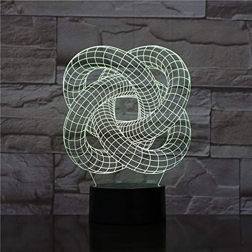 Nur 1 Stück Trakt Spiralkreise Nachtlicht 3D Illusion Tischlampe Nachtlicht Farbwechsel Touch Lights Kunstlampe