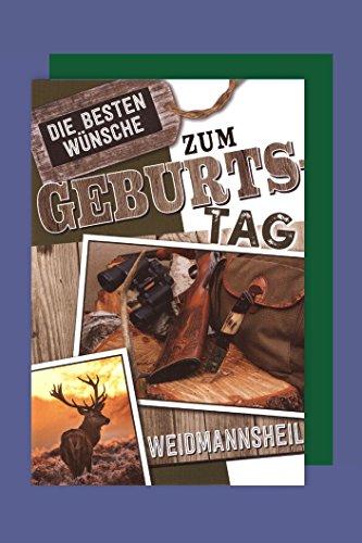 Jäger Geburtstag Karte Grußkarte Waidmannsheil Gewehr Hirsch 16x11cm
