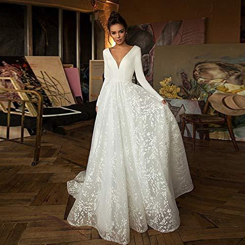 Trouwjurken voor vrouwen Kant Bruidsjurken met lange mouwen V-hals Boho bruidsjurken Satin Backless White Plus Size Maatwerk (Color : Ivory, US Size : 22W)