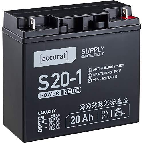 Accurat 12V 20Ah Blei-Akku AGM Blei-Batterie F13 Zyklenfest Supply-Serie VRLA Versorgungsbatterie (wartungsfrei)