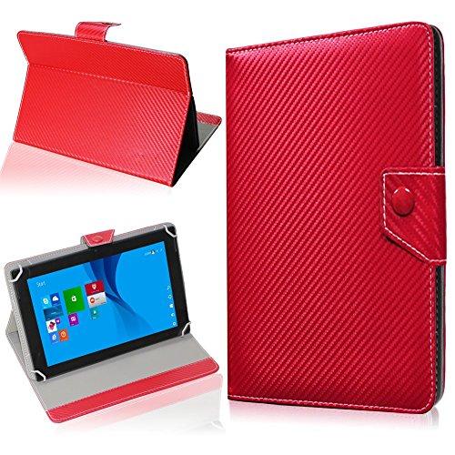 NAUC Tasche Hülle für ODYS Ieos Quad 10 Pro Schutzhülle Tablet Cover Hülle Bag Etui, Modellauswahl:Rot Carbon-Erscheinungsbild Magnetverschluss