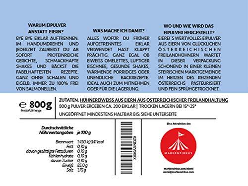 PROTEINVITAL Pures Hühner Eiweisspulver 100% natürlich aus Österreich 1000g Bodenhaltung – Neutral & ohne Kohlenhydrate – Proteinpulver zum backen kochen aufschlagen oder als shake zusatz – Laktosefrei Glutenfrei Fettfrei Süßstofffrei - 3