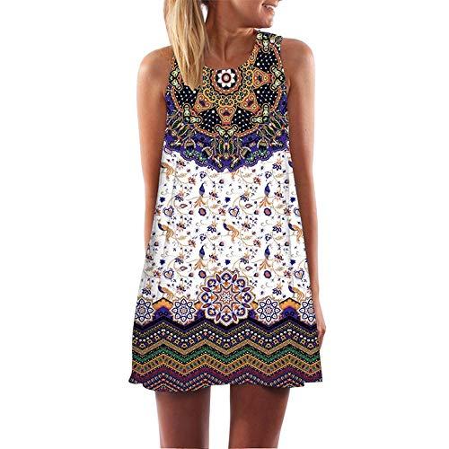 LOPILY Damen Partykleid Strandkleid Vintage Blumendruck Sommerkleider Lose Tunika Kurzarm T-Shirt Kleid A-Linie Einfach Bequem Minikleid Kleider(Mehrfarbig,DE-38/CN-M)