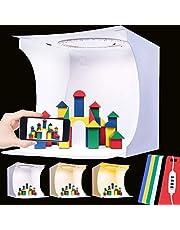 Caja de Luz Fotografia, 23cm x 23cm x 24cm Tienda Fotográfica Plegable Portátil con Modo de Luz Regulable de 3 Colores y 6 Fondos de Colores (Negro Blanco Amarillo Azul Verde Rojo)