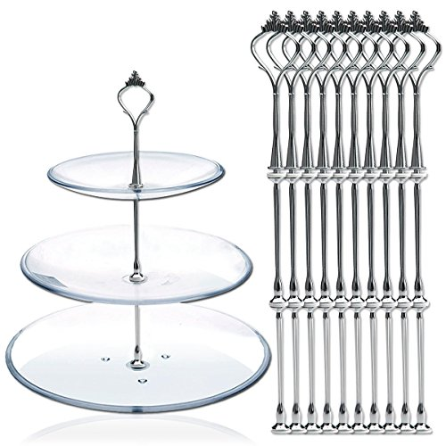 AKORD 10 x Sets Etagère mit 2 oder 3 Etagen Stange Garnitur versilbert Neu