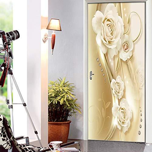 Deur Stickers voor Interieur Deuren 3D Luxe Europese Gouden Roos Zelfklevende Art Deur Behang muurschilderingen Waterdichte Vinyl Verwijderbare Poster Slaapkamers Woonkamer Toilet Keuken Woondeur Art Creative De 95x215cm