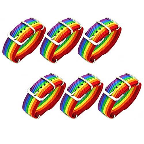 Jxuzh LGBT - Juego de 6 pulseras para hombre y mujer (nailon, compatible con la mayoría de los relojes)