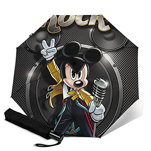 Mickey Mouse Rock Music Paraguas automático portátil de tres pliegues, compacto y portátil, plegable, resistente al viento, impermeable y anti-UV