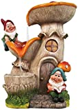 SINTECHNO SNF91159-3 Gnomes with Mushroom House Water Fountain