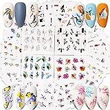 FLOFIA 48 Estilos Pegatinas Uñas Decorativas al Agua, Calcomanías Uñas Agua Flores Retrato Pluma Kit Elementos Variados Nail Art Stickers para Mujer Niñas Manicura DIY