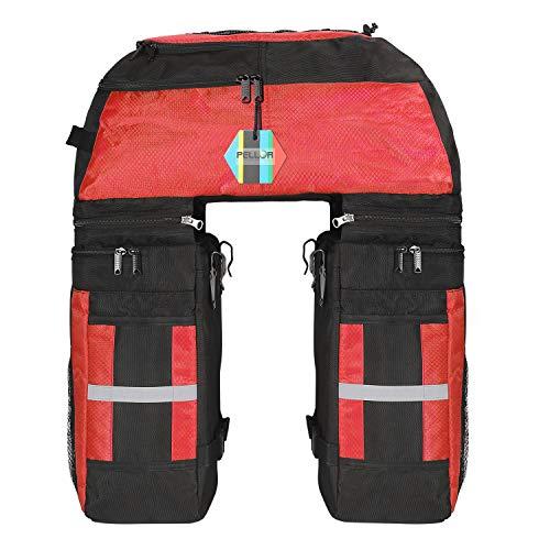 PELLOR 70L MTB Bike Waterproof 3 in 1 Rear Bicycle Bag Pannier Bags Bike Rack Bag with Rain Cover...