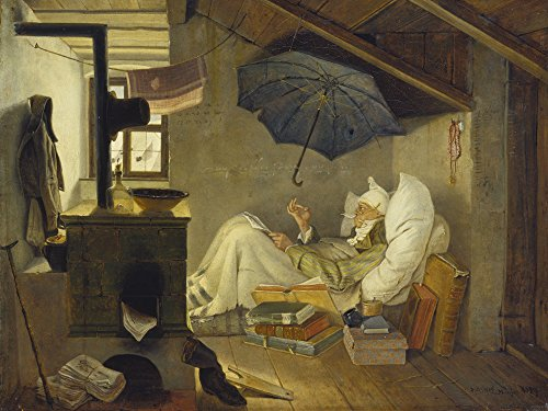 Artland Alte Meister Kunst Bild Biedermeier Carl Spitzweg Wandbilder Der Arme Poet 45 x 60 cm...