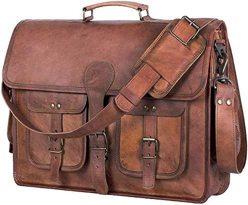 Vintage Handmade Leather Messenger Bag Laptop Briefcase Computer Satchel bag