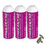 REPORSHOP - 3 Botellas Gas Ecologico Refrigerante Freeze Organico +32 350Gr + Valvula Sustituto R32, R410A