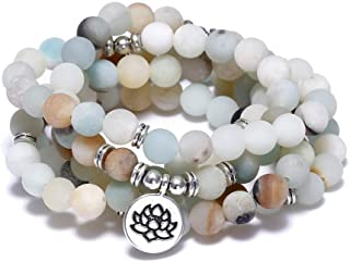 FUTTMI 8mm Natural Sodalite Stone Healing Gemstone 108 Mala Beads Wrap Bracelet Necklace for Yoga Charm Bracelet Jewelry for Women Men