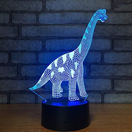 3D Visual Dinosaurs Led USB Desk Lamp Night Light 7 Colors with Telecontroller Acrylic Board Micro USB/3A Battery Children Christmas Birthday Present Gift (Dinosaur14)