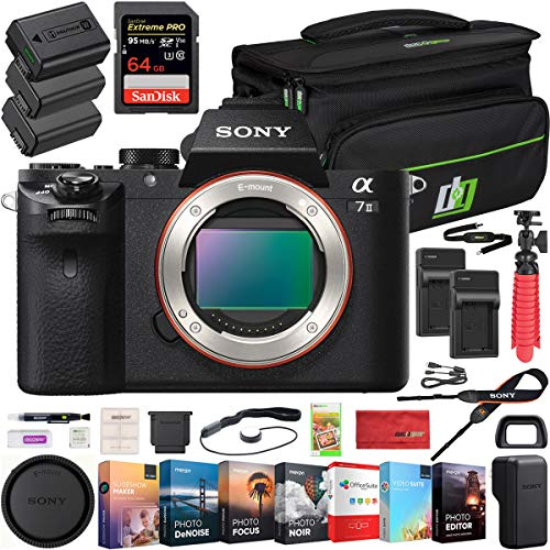 Sony a7 II Full-Frame Alpha Mirrorless Digital Camera 24MP (Black) Body Only a7II ILCE-7M2 with Deco Gear Professional Photo Video Camera and Lens Case 2X Extra Battery Power Editing Bundle