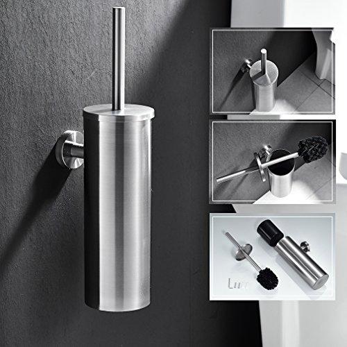 Auralum® Klobürstenhalter zur Befestigung an der Wand, aus gebürstetem Nickel