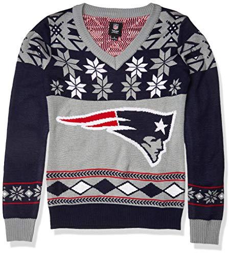 New England Patriots Womens Big Logo V-Neck Sweater Small