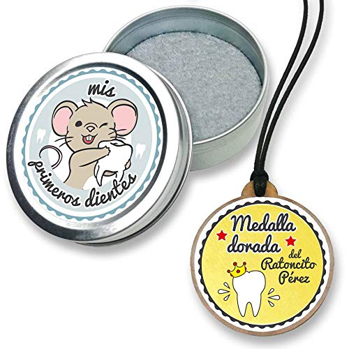FANS & Friends Caja para dientes de leche con medalla para niños y niñas, e-book gratis incluido, Caja para guardar los dientes de bebés, Ratoncito Pérez, color: azul