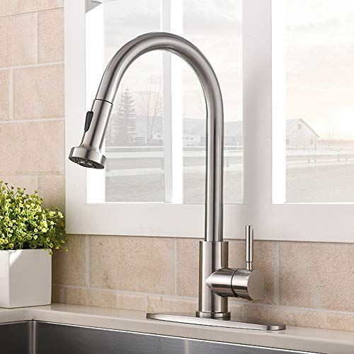 VCCUCINE Commercial High Arc Stainless Steel Single Handle Pull Down...