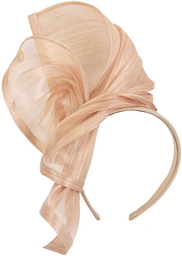 Fillies Collection Bespoke Nude Silk Abaca Racing Fascinator
