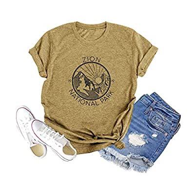 Binshre Women Zion National Park Tshirt Mountain Sunrise Graphic Shirt Letter Printed Vintage Hiking Blouse Tee Light Brown
