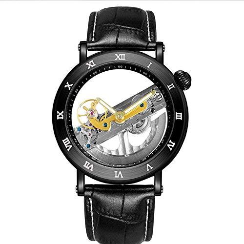 Tourbillon - Reloj mecánico automático para hombre con correa de acero inoxidable negra, resistente al agua, regalo - 1