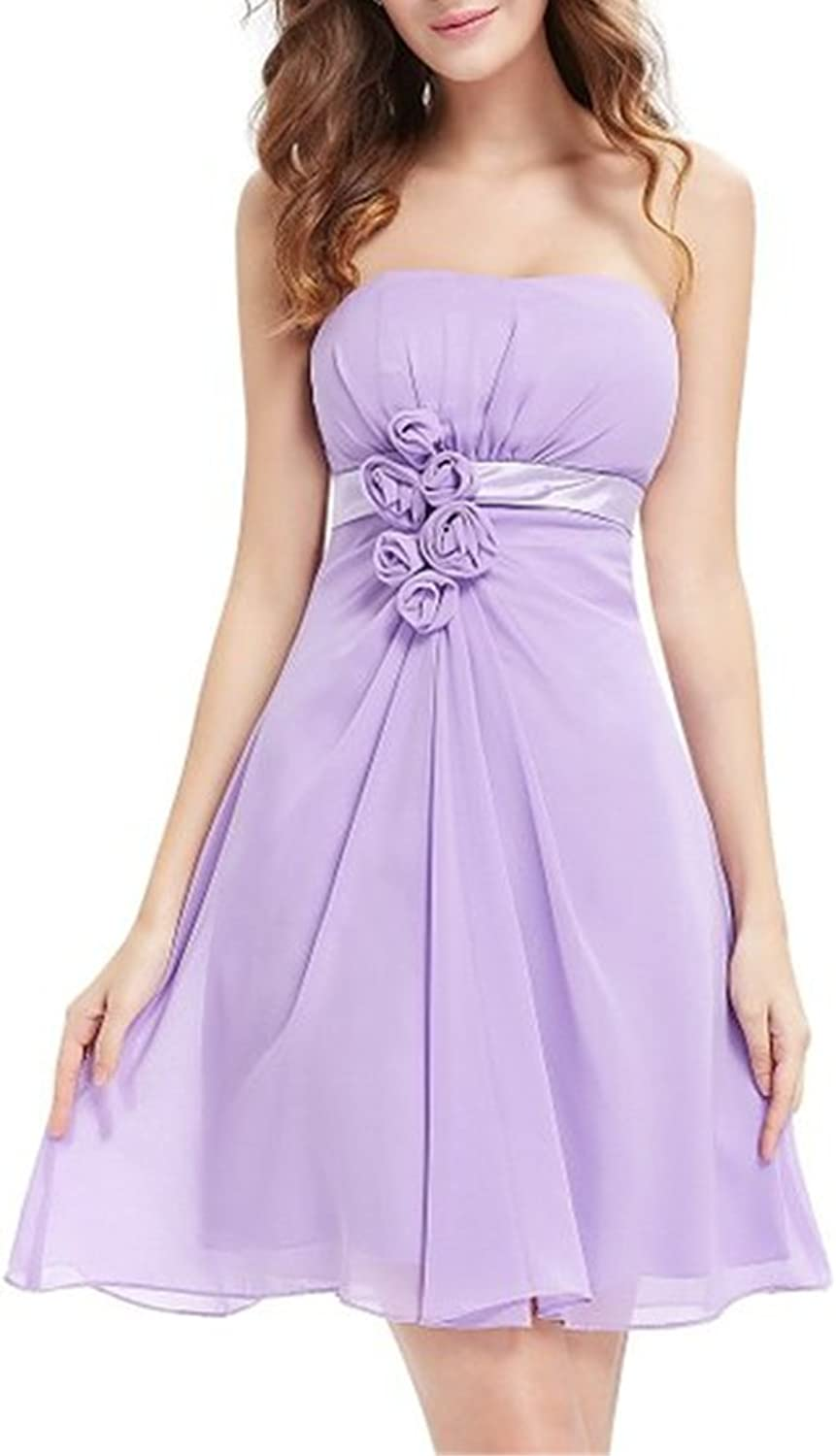 DianSheng Women's Strapless Floral Empire Short Prom Dress Bridesmaid Dress