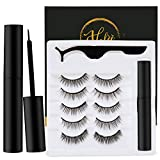Magnetic Eyelashes with Eyeliner, Magnetic Eyeliner and Magnetic Eyelash Kit, Natural Look False Eyelashes, Extra Strength Magnetic Eyeliner, easy to wear and Reusable (5-Pairs)