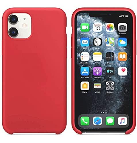 Funda de Silicona Silicone Case para iPhone 11 Pro, Tacto Sedoso Suave, Carcasa Anti Golpes Duradera y Resistente, Bumper, Forro de Microfibra (Rojo Camelia)