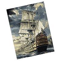 Colcolo 数字によるフレームレスDIY絵画キャンバス絵画アートピューレ - セーリング, 40 * 50cm