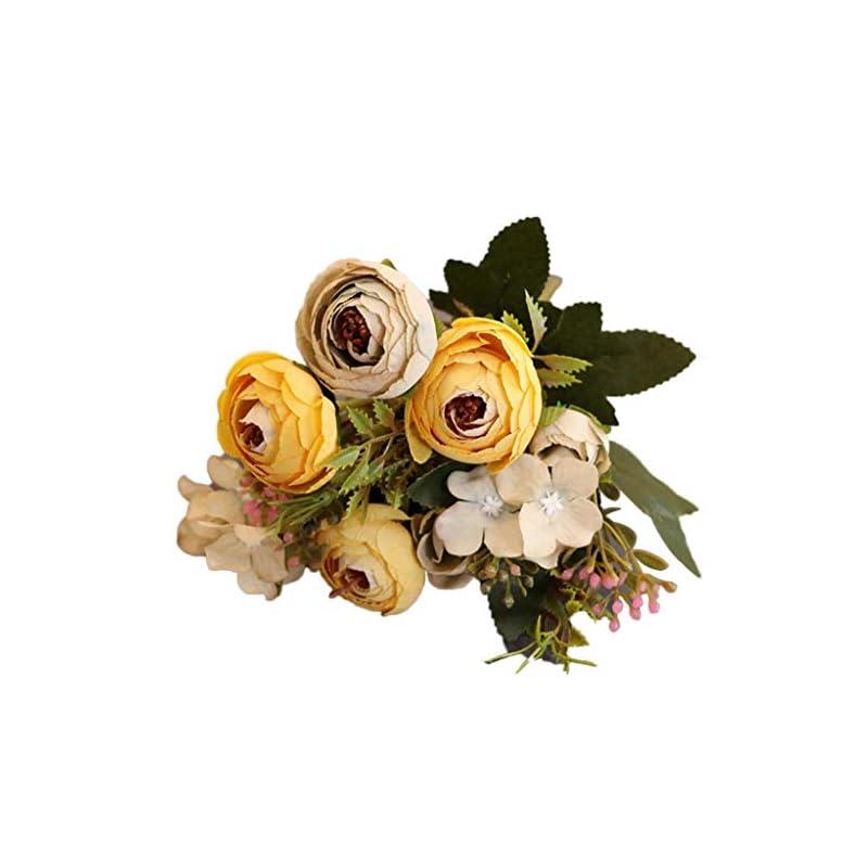 silk flower arrangements dserw artificial flower,1pc artificial flower camellia home garden wedding party furniture diy decor - yellow
